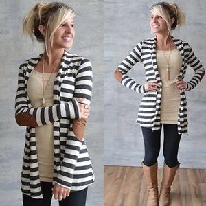 Casual Long Sleeved Arm Patch Striped Cardigan NWT